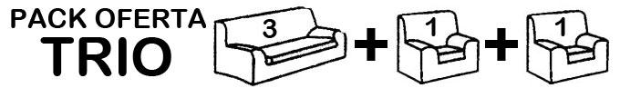 Pack TRIO: Incluye 1 Funda de sofá de 3 Plazas + 2 Fundas de sofa de 1 Plaza