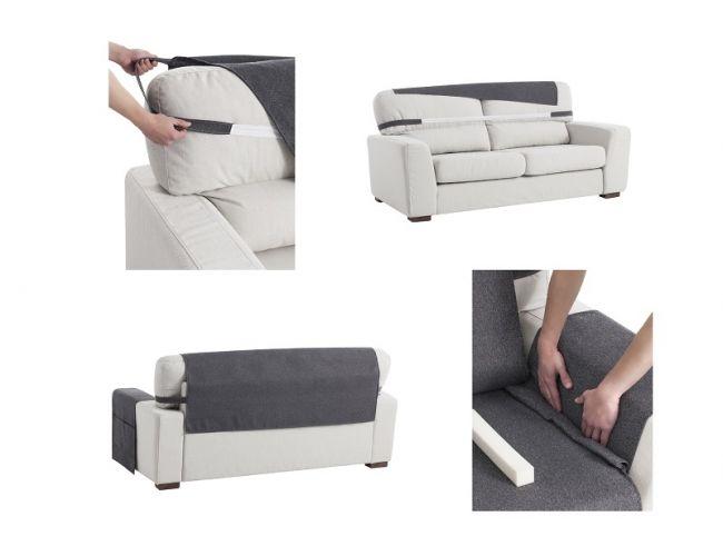 Sistema de colocación para fundas cubre sofás.