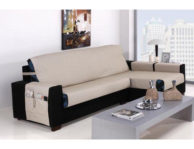 Funda cubre sof para chaise longue tejido johanna de dos - Fundas de sofas a medida ...