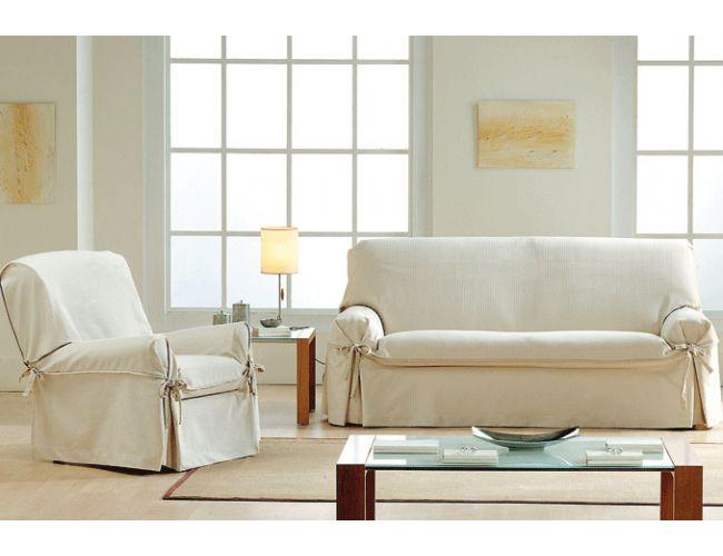 Funda de sofá con lazos tejido Vilma vista del salón