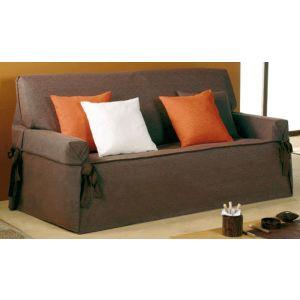 Funda de sofá con lazos tejido Titania 3 plazas marrón