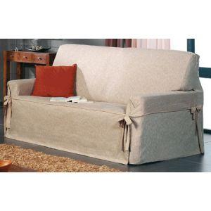 Funda de sofá con lazos tejido Ventura - 3 plazas Beige