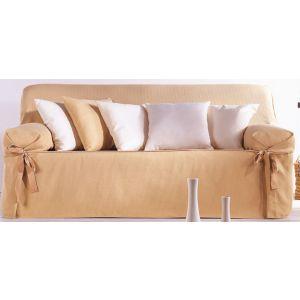 Funda de sofá con lazos tejido Yvonne 3 plazas ocre