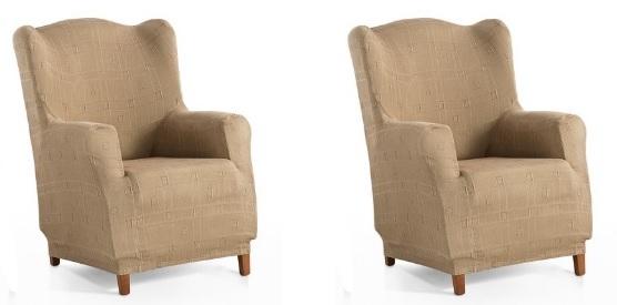 """Juego de fundas para sillón orejero elástica """"Vanessa"""""""