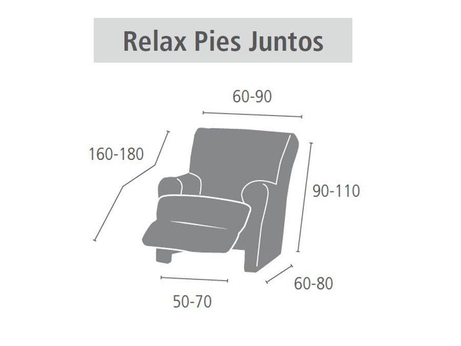"""Medidas funda para sillón relax """"Caramelo"""" pie unido"""