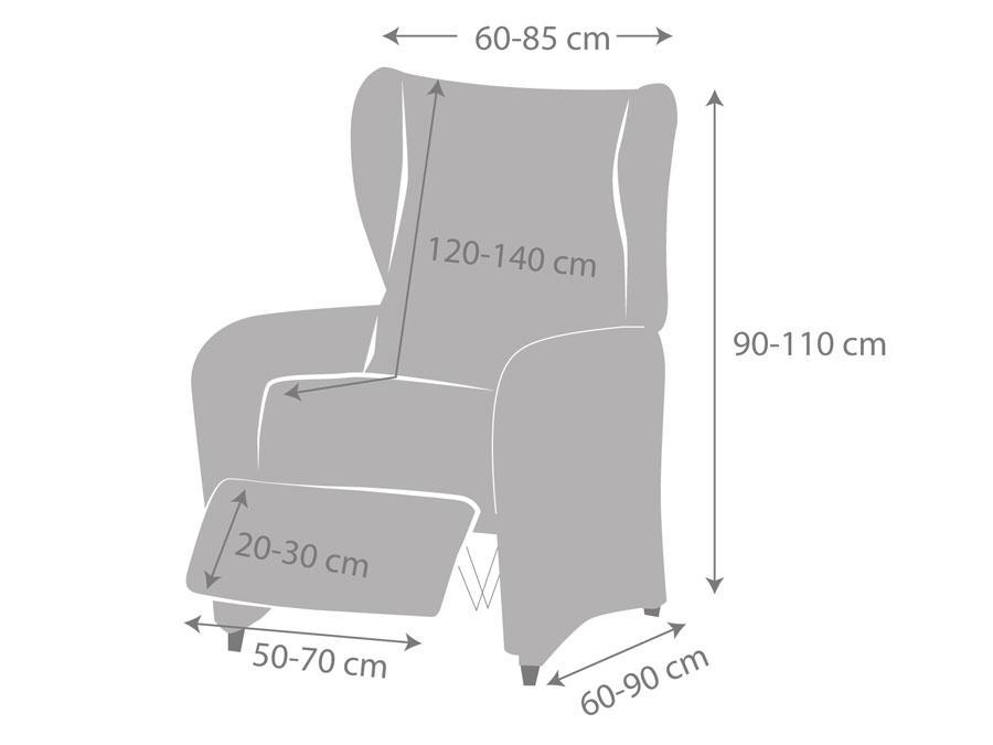 """Medidas fundas de sillón relax """"Ave"""" pie por separado"""